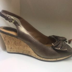 Clark's bronze leather wedge